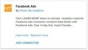 data studio connectors facebook ads power my analytics