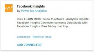 data studio connectors facebook insights power my analytics