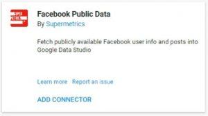 data studio connectors facebook public data supermetrics