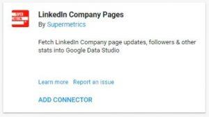 data studio connectors linkedIn company pages