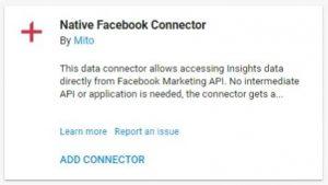 data studio connectors native facebook connector mito