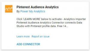 data studio connectors pinterest audience analytics power my analytics
